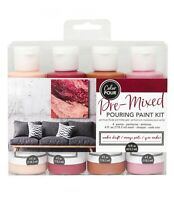 COLOR POUR - PRE MIXED STARTER KIT (4pc) - Amber Drift Canvas Painting Drip