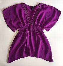 EUC Women's H&M Fuchsia Purple Bohemian Sequin Dolman Sleeve Top-Sz 6