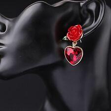 1 Pair Women Red Heart Crystal Elegant Drop Earrings Rose Ear Studs Gift Jewelry