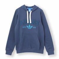 adidas Originals Men's Slim Fit Hoodie Trefoil Logo Hooded Sweatshirt Top Blue