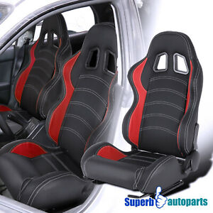 Left Side LH Black Red White Stitching PVC Leather Sports Racing Seat+Sliders