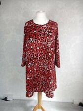 F&F Red Animal Print Dress Size 20 A Line Immaculate Condition On Trend 04/19 #u