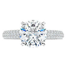 Halo Micro Pave Engagement Wedding Ring 5.55 Ct Moissanite Round Forever One