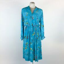 Vintage Blue Floral Dress Fit & Flare Secretary Long Sleeve Button Front Rayon