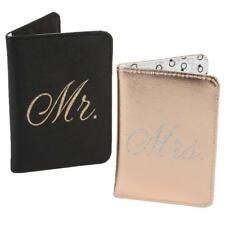 Set of 2 Passport Covers Mr & Mrs - Black & Rose Gold - Wedding Gift
