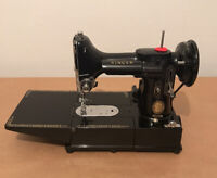 1957 Singer 222K Featherweight, Case, Key + Embroidery Hoop + Access. - Serviced
