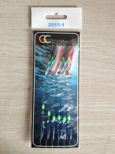 2011-1 Rainbow Fish Skin Hokkai Sea Lures Fishing Rigs Hook Size 2