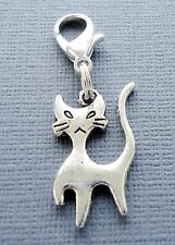 1 pc Dangle CAT Clip On Charm Lobster Clasp Fit link chain floating locket C176