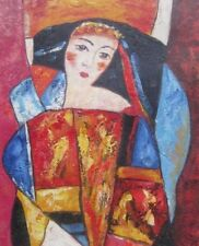 LARGE VINTAGE PAINTING ABSTRACT LADY OIL ON CANVAS