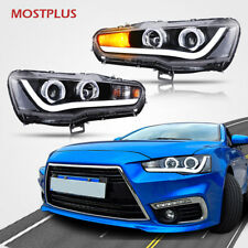 For Mitsubishi Lancer EVO X 2008-2016 LED Headlights Halo Projector Front Lamps