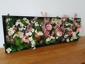 handcrafted gift pink and cream rose faux flower wall 61cm x 21cm