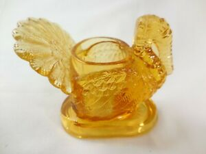 """Amber Glass Thanksgiving Turkey Candle or Toothpick Holder 3 1/2""""  Vintage"""