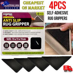4 Pcs Rug Grippers Reusable Anti Skid Non Slip Washable Grip Floor Carpet AU NEW