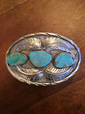 Native American Style Old Pawn Silver and Turquoise Belt Buckle