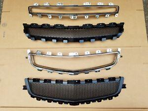4PC Set 2008-2012 MALIBU Front Bumper Upper & Lower Black Grille w/ Chrome Trim
