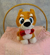 """New listing Ideal Toys Direct Husky Corgi Brown & White Timber Wolf Puppy Dog Plush 14"""" Bow"""