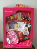 """Our Generation Back to School Backpack Supplies Playset 18"""" Girl Doll American"""