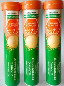 3 x Activ-Max Orange Flavour 20 one-a-day Vitamin C Effervescent Tablets/1000mg.