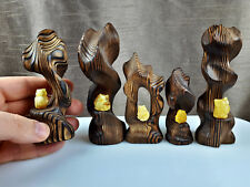 3pcs Statuettes Vintage Wooden Owls Baltic Amber Figurines Gift Decoration 0107
