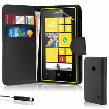 BLACK WALLET Leather Case Phone Cover for NOKIA LUMIA N520 Plain UK STORE