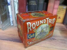 TOBACCO TIN ROUND TRIP CUT PLUG -LUNCH BOX ORIGINAL CAN EARLY EARLY 1900 antique