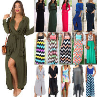 Womens Ladies Boho Summer Long Maxi Beach Dresses Party Evening Cocktail Dress