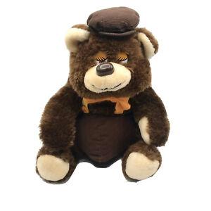 Ganz Vintage Brown Bear Corduroy Plush Newsboy Cap Chubby Teddy Stuffed Animal
