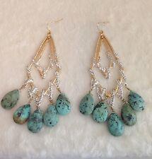 "HUGE Alexis Bittar GoldTone ORBITING TEAR VINE Earrings Turquoise - 4.5"" Long"