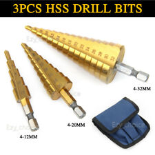 3pcs HSS Steel Step Cone Drill Titanium Bit Set Hole Cutter 4-12/20/32mm AU Ship