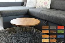 Rustic Industrial Wood Round Coffee,Side Table Metal Hairpin Legs