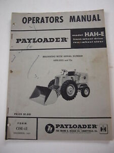 IH International Hough HAH-E Front-End Wheel PAY Loader Tractor Operators Manual