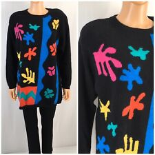 Vintage 80s 90s Oversize Sweater Angora Blend Artsy Multicolor Abstract Goldberg