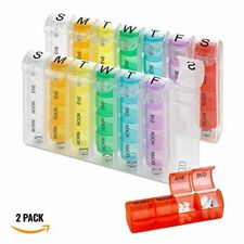 MEDca Weekly Pill Organizer 2 Pack Planner Four Times-a-Day Reminder M-S Travel