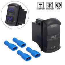 For Car 5-60V Digital LED Dual Voltmeter Voltage Panel Dual Battery Monitor Blue
