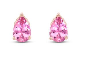 Simulated Tourmaline Pear Shape Stud Earrings in 14k Gold Over Silver