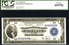 1918, $1 Fr 712 Large Size Frbn Pcgs 65Ppq-L@K