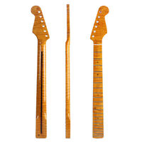 21 Frets Tiger Flame Maple Guitar Neck for ST Strat Yellow Glossy 56.5mm Heel