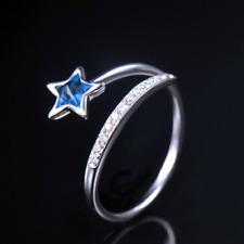 Solid 14K White Gold Natural Star Blue Topaz Diamond Women Ring Gemstone Jewelry
