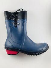 SOREL Rain Boots Women Size 8.5 Blue Rubber and Black Leather Conquest