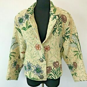 Vintage 1980s Painted Pony Tapestry Jacket One Size Green Red Floral Texas CJ5