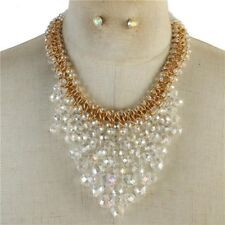 Clear Faceted Glass bead gold Tone V Style Necklace Earring Set