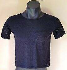 URBAN OASIS Black Casual BLOUSE Size S - BNWT - Semi Transparent Pattern