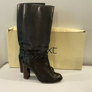 Next Size 8 grey plait front tall leather boots high heel worn once RRP £110