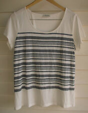 Jeanswest Women's White & Black Stripe Top with Fabric Crossover on Back - Sz L