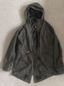 Superdry Mens Military Fishtail Parka Coat Army Green 2XL