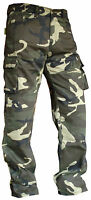 MENS GREEN CAMO COTTON CARGO WITH KEVLAR MOTORBIKE MOTORCYCLE MOTOCROSS TROUSERS