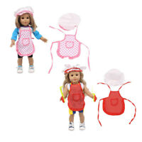 Handmade Dotted Apron & Hat Set for AG American Doll 18inch Doll Dress Up Kit