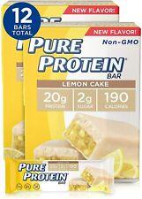 Pure Protein Bars, Lemon Cake, 6 Count of 1.76oz Bars, Pack of 2 (12 Bars Total)