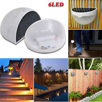 6 LED Smart Outdoor Wall Fence Garden Light Control Solar Powered LED Lamp Light