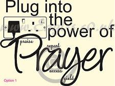 Iglesia Cristiana bíblico Vinilo de pared Arte Enchufe en el poder de la oración